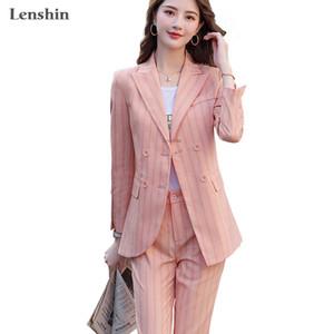 Lenshin Qualitäts-2-teiliges Set Gestreifte Formal Hosenanzug Blazer Büro-Dame Designs Frauen weiche Jacke und knöchellangen Hose