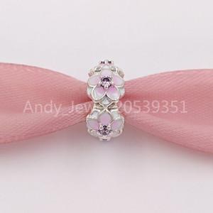 Authentique 925 perles en argent sterling Magnolia Bloom, pâle émail rose Cz Cerise Charms Bijoux Bracelets Fits Pandora style européen 001