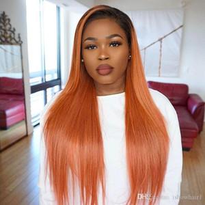 Ombre Couleur Orange droite perruques de cheveux humains Violet brésilien Densité des cheveux 180% perruque avant la racine des cheveux plumé 4 * 4 Human Hair Lace Front Wigs