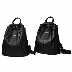 Style New Leather Large Bag Bookbag Backpack Korean-style 2020 Laptop Fashion Lnivj Soft WOMEN'S Casual Qhrak