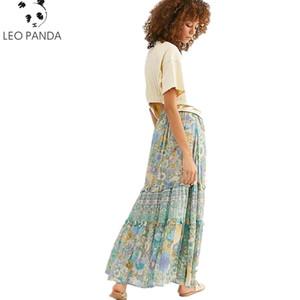 2019 Conmoto Verão Longa Praia Verde Bohemian Mulheres Saia Dividir Ruffle Borla Cintura Alta Saias Saias Femininas Casuais