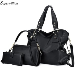 Soperwillton Women Shoulder Bags Leather Totes Luxury Ladies Handbags 2020 Fashion Double Zipper Designer Handbag Composite Bag