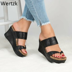 Wertzk Wedges Sandales d'été style plate-forme Gladiator Sandales Mules Chaussures Femme Chaussures Femme Casual Tongs Slipper