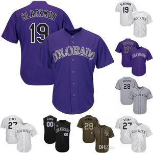 # 19 Charlie Blackmon Jersey Colorado Herren 5 Carlos Gonzalez 21 Kyle Freeland 27 Trevor Geschichte 28 Nolan Arenado Rockies Baseball-Shirts