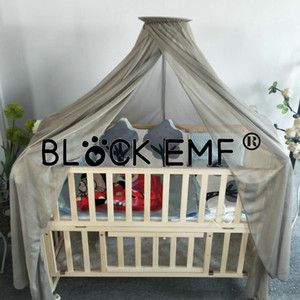block emf Baby Bed Mosquito Net Silver Fibre Mesh Dome canopy shielding crib net for radiation protection