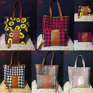 5styles estampa de leopardo retalhos bolsa com zíper wristlet bolsa girassol alça de couro tote búfalo shouler xadrez saco de 17 polegadas FFA3315