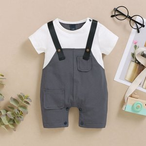 Baby Boys Overalls Summer Casual Loose Gentleman Clothes Sets Children Short Sleeve Tops T Shirt+Strap Shorts Clothing Sets