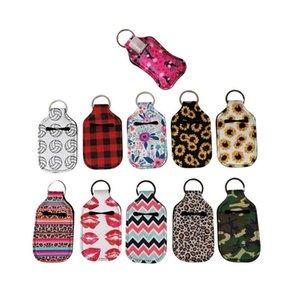24 Styles Neoprene de cobertura para 30ml Hand Sanitizer Bottle Manga Pingente chaveiro Girassol Chaveiros Neoprene Hand Sanitizer Titular B114F