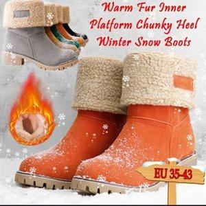 KAMUCC Neue Frauen Stiefel Winter Outdoor Warmhaltepelzstiefel wasserdicht Frauen-Schnee-starke Ferse mit runden Kopf kurzen Stiefel