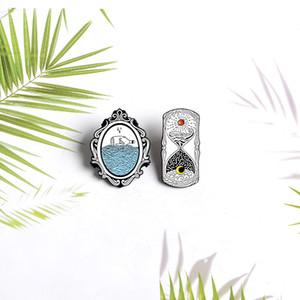 모래 시계 드롭 오일 합금 복고풍 미러 브로치 배지 귀여운 만화 창조적 인 학생 야생 브로치 도매 핀