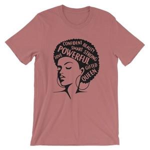 Palabras mujeres feministas Afro Señora Shirt Tee de mujer de moda de verano camiseta de manga corta camiseta Inspiring Cartas de impresión superior del algodón