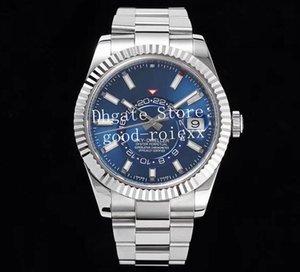 42мм Синий Черный Мужские автоматические часы Cal.9001 Мужчины NoobF Sky Gmt Time Zone Dweller Дата 326934 Сталь Платина Кольцо Команда Perpetual часы