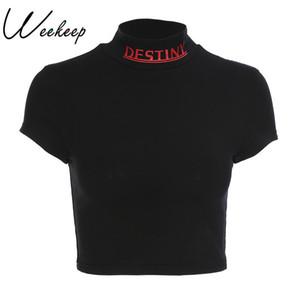 Mulheres Weekeep Sexy Cropped Turtleneck T Shirt Verão Preto Algodão Carta Impressão T-shirt Moda Streetwear Magro Cintura Top Colheita Q190518