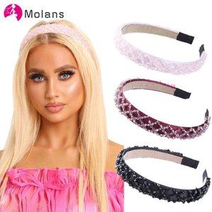 Molans Burgundy Bead Embellished Headbands Women Rhombus Beaded Hairbands Wide Hair Bands Hoops Bezel Girls Hair Accessories