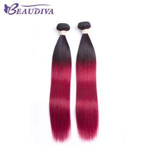 BeauDiva Pre-Colored Hair Weave 브라질 스트레이트 헤어 번들 원피스 만 T1B / Burg Cheap Straight Human Hair 무료 배송