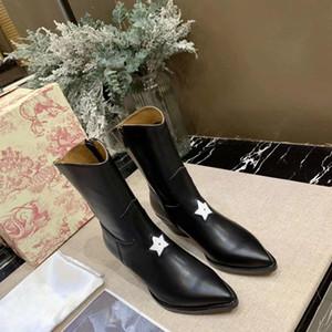 Pelle Martin Heel Boots invernali donne di autunno appartamenti Stivali Scarpe Vera slip femminile stivaletti alla caviglia Runway design pista signore Sho Jjdhp