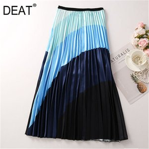 [DEAT] High Elastic Waist Contrast Color Pleated Striped Half-body Skirt Women Fashion Tide New Spring Summer 2020 13R855