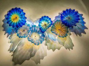 الزرقاء الزجاج الملون مصابيح الحائط الحديثة يدوية الجدار الزجاجي إضاءة زجاج مورانو تجريدي جدار فن الضوء شحن مجاني