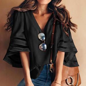 Frühling und Sommer der neuen Frauen der Frauen ein-Schulter-Shirt lose langärmlige Größe Maschengarn Vernähen Chiffontop
