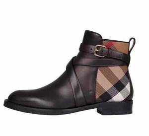 2019 Mulher Marca botas de couro real Melhor qualidade Apontado Flat Shoes Ankle Boots Martin Botas Moda inicialização Eu: 35-40 Com a caixa frete grátis