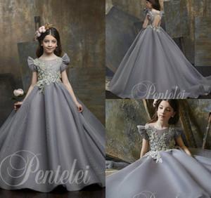 Gris niña de las flores vestidos de cuello de la joya de bolas apliques Cap manga vestido de primera comunión por encargo elegantes niñas desfile Vestidos