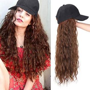Nouvelle longue perruque de cheveux synthétiques chapeau ondulé avec casquette de baseball Yaki naturel vague femmes fille perruques postiches