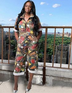 Womens Summer Designer Jumpsuits Camuflaje Imprimir Manga corta Pantalones largos Turn Down Collar Ropa femenina Estilo de moda Ropa casual