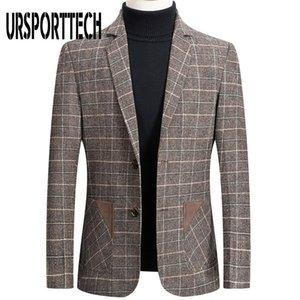 URSPORTTECH de haute qualité Marque Hommes Blazer Veste de costume pour hommes Veste à carreaux mode Imprimer Slim Fit Manteau chaud Blazer Homme Plus Size