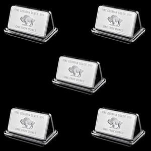 5pcs alemán 1 Onza Troy regalo de negocios Buffalo 50mm * 3m m plateado plata del lingote del medallón de monedas Conjunto de colección