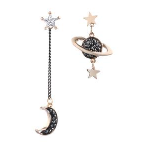 2019 version coréenne des nouvelles étoiles lune boucles d'oreilles femme longues boucles d'oreilles asymétriques pompon tache gros bijoux de mode