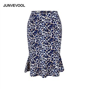 Leopard Casual Skirt Office Wear To Work Elegant Summer Casual Party Club Clothing Lady Print Sexy Knee-Length Vintage Skirts