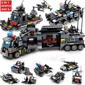 8pcs / Tijolos muito SWAT polícia da cidade de helicóptero Esquadra Truck Car Building Blocks LegoINGLs Cidade Brinquedos para Crianças Presentes de Natal
