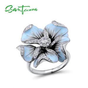 Santuzza Gümüş Yüzük Kadınlar Için Blooming Çiçek Saf 925 Ayar Gümüş Kübik Zirkonya Fairytale Moda Takı El Yapımı Emaye Y19052201