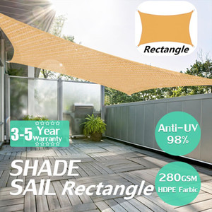 2x5m pesado impermeável à prova d 'água Sun Shade Sail Outdoor Retangular toldo Dossel Garden Garden Tent Shade Sun Abrigo