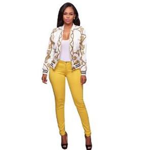 Adogirl Мода печати Женщины Bomber Jacket с длинным рукавом на молнии Тонкий Бейсбол Outwear высокого качества дамы весна осень пальто Топы WY411