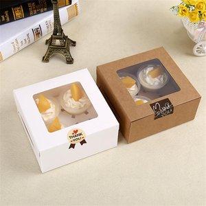 16x16x7.5cm cavità Cancella Finestra creativo Kraft Marrone Bianco contenitori di bigné della focaccina Packaging Box LZ0745