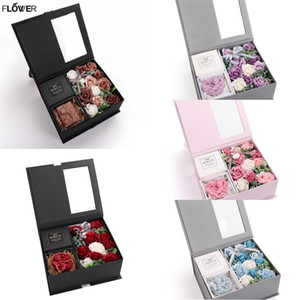 Forma Bouquet multicolor de flores artificiales de la flor de Rose de San Valentín Ángel Jabón romántico regalo con la caja de las rosas