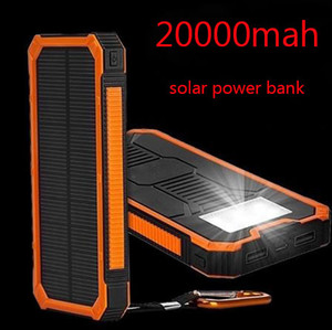 Enorme capacidade Solar Power Bank 20000mAh Dual-USB Waterproof Solar Power Bank Battery Charger For All Telefone Iphone Huawei Xiaomi