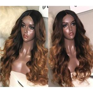 Полный шнурок человеческих волос парики ломбер два тона 1B 30 волнистые бразильские девственные волосы 150 плотность натуральный волосяной покров бесклеевой отбеленные узлы