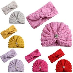 Bebé hicieron punto los sombreros diadema muchachas de los sistemas de lana gorros Beanie Hairbands Invierno Niños ganchillo del sombrero del casquillo al aire libre Sombrero Accesorios regalo C6824