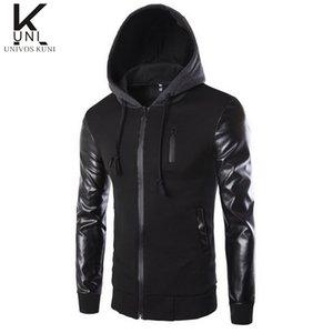 Новый бренд толстовка PU пэчворк толстовка Мужские спортивные костюмы молния куртки Crewnecks сплошной черный кофты Moleton F1006