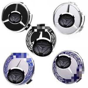 Pour 4pcs Benz 75mm Caps de moyeu de roue de voiture Styles Centre Covers d'argent Logo bleu noir couverture