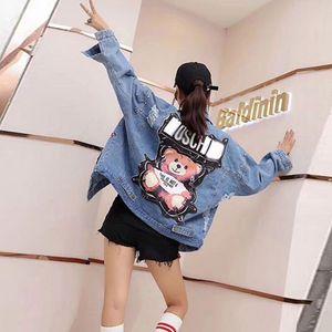 das mulheres jaqueta jeans 2019 Lantejoulas pérolas do punk Batwing luva jeans Loose Women Vintage Streetwear Feminino Brasão Jacket Y200101