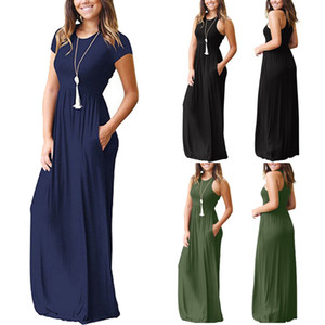 Frauen Sommerkleider Sleeveless Round Neck Solide Boho Beiläufige Lange Maxi Party Cocktail Strandkleid Sommerkleid