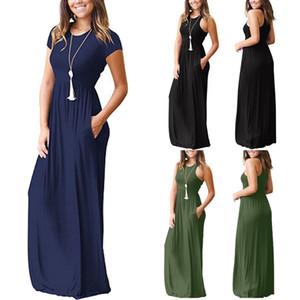 Mulheres vestidos de verão sem mangas em torno do pescoço sólido boho casual longo maxi festa cocktail beach dress vestido de verão