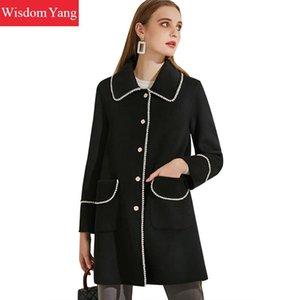 Manteaux d'hiver des femmes Trench Femme Veste en laine et cachemire perle noire vintage Pardessus en laine long manteau coréenne dames Manteaux