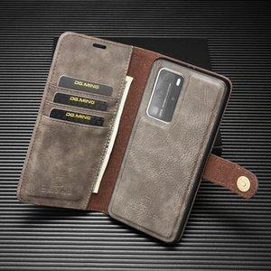 Magnetic 2 in raccoglitore 1 Leather per Huawei P40 P40 P40 Pro Caso staccabile rimovibile Lite copertura di vibrazione del metallo pulsante borsa del telefono di lusso