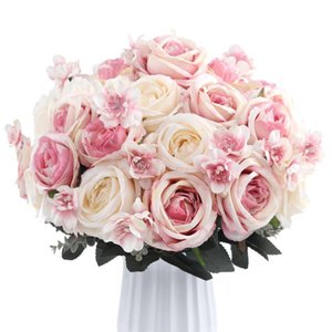 12 Heads bouquet Real Touch Silk Rose Artificial Flowers Vivid Peony Flores Fake Flower Bridal Wedding Decoration Wreath G9250
