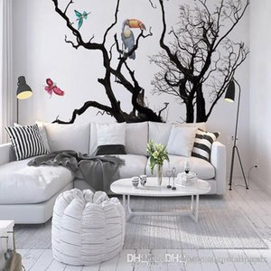 Custom European Photo Wall Murals Wallpaper Animals Bird Black White Artistic Tree 3D Room Wallpaper Roll Landscape Wall Murals