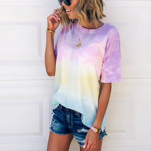 2020 Moda Kadın Giyim Gökkuşağı tişört Bayan Tie-boya Gradient Gökkuşağı Kısa tişört Hamile Tees Giyim M1382 Tops